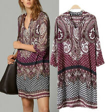 Bohemia V neck Ethnic floral PRINTED TUNIC 3/4 Sleeves soft cotton Dress S M L