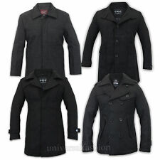 Men Jacket Wool Look Coat Duffle Double Breasted Military Winter Lined Warm New