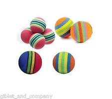 STRIPED BALLS CAT TOYS - Lots 4/5/10 Hard Foam Balls Asst Colors Quiet Play Roll