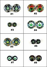 Fake Ear Plugs Cheater Gauges 10mm Face Green Marijuana  Rasta Chronic Leaf IW