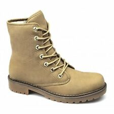 Xti Womens Ladies Lace-Up Fold Over Warm Fleece Lined Ankle Boots Camel Beige