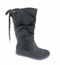 Roxy NEW in BOX Halifax Womens Black Faux Suede Slouch Lace Up Mid Calf Boots