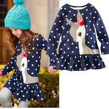 Cute Deer Polka Dots Girl Dress Children Kids Clothing Long Cotton Top T-Shirt