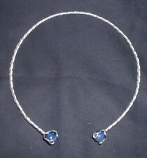 Sterling Silver Neck Torc with Gem Stone You Choose Size & Stone SCA Garb fnt