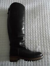 Auth CHANEL Black Leather Riding Equestrian Knee-High Boots w/ Back Zip 39