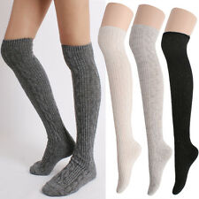 Women Winter Warm Thick Wool Twist Cable Knit Over The Knee High Sweater Socks
