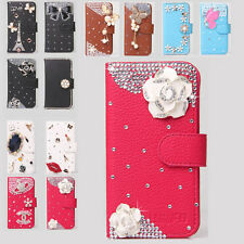 Luxury Camellia Wallet Leather Flip Case Cover for Various Model LG Cell Phone