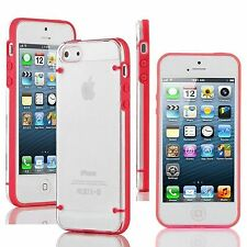 Apple iPhone 5 / 5s SE (2016) Case Hybrid Ultra Thin Hard Clear TPU Cover Red