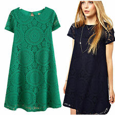 Summer Women's Sexy Lace Floral Casual Short Party Evening Cocktail Mini Dress