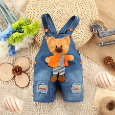 Newborn Baby Girls Boys Denim Jeans One-pieces Rompers Playsuits Straps Clothes