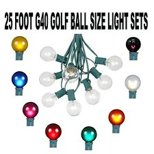 25 Foot G40 Bulb Outdoor Patio Globe String Light Set - Green Wire - 25 Bulb Set