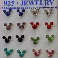Sterling Silver BIRTHSTONE Disney MICKEY MOUSE Stud BIRTHDAY Crystal Earrings