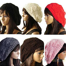 Vogue Trendy Women's Lady Beret Braided Baggy Beanie Crochet Hat Ski Cap Knitted