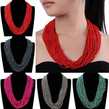 New Fashion Multilayer Jewelry Seed Bead Cluster Strand Handmade Choker Necklace