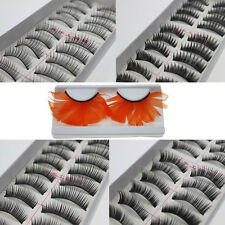 10 Pairs Black Natural Thick Long False Fake Eyelashes Eye Lashes Glue Makeup