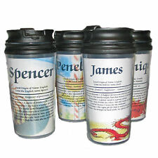 Five Travel Mugs Personalized with Meaning of Name