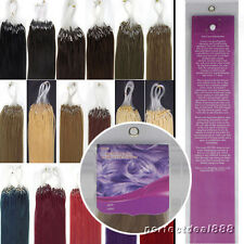 16''100s/set Micro Loop Ring Beads 100% Remy Human Hair Extensions  15 colors
