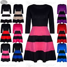 Womens Ladies 3/4 Sleeve Block Stripe Panel Flared Franki Skater Dress Plus Size