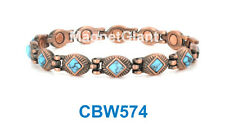 Turquoise Gemstone - Women Copper link high power magnetic bracelet CBW574