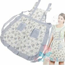 Korean Sleeveless Floral Print Double Pocket Cooking Catering Apron Tabard New