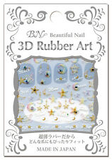 BN☀Japan-BEAUTIFUL NAIL 3D RUBBER ART WITH STONE Nail Tip Sticker Set All♪6style
