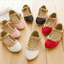 Fashion Kids Toddlers Baby Girls' Dress Up Dance Flat Casual Leather Rivet Shoes