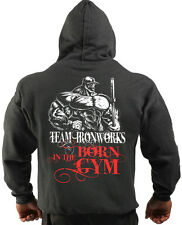 CHARCOAL BORN IN THE GYM BODYBUILDING CLOTHING HOODIE, WORKOUT TOP GYM FITNESS