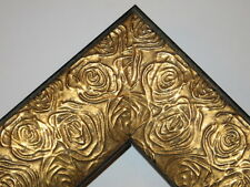 "2.3"" Aged Gold Rose Ornate Wood Canvas Frame Picture Frame-Custom Standard Sizes"