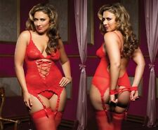 Plus Size Lingerie XL 1X 2X Red Babydoll Chemise Bridal Lingere Queen 1XL 2XL