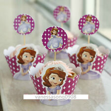 24 Disney Princess Sofia Cupcake Wrappers Toppers Party Decoration Birthday Pick