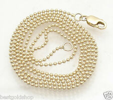 1.2mm All Shiny Round Bead Ball Chain Necklace REAL Solid 14K Yellow Gold