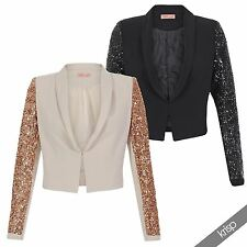 Womens Tailored Sequin Cropped Blazer Padded Shoulder Disco Jacket Party Evening