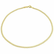 Mens or Ladies 10k Yellow Gold Flat Cuban Curb 2.50 mm Bracelet 8-10 Inches