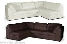 NEW OFF-WHITE OR BROWN MODERN LEATHER MODULAR SECTIONAL SOFA SET DESIGNER