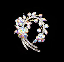 CRYSTAL LARGE FLOWER WREATH BROOCH PIN SILVER, GOLD TONE CLEAR RED BLACK BROWN