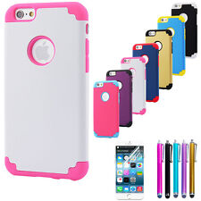 Soft Rubber Hybrid Armor Impact Defender Back Case Cover For iPhone 6 and 6 Plus
