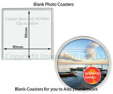 Blank Photo Coasters 100mm (Packs 20, 25, 30, 40) (Square Round 90mm insert)