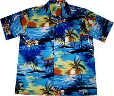 Hawaiian Shirts Shirt / L - 3XL / 100% Cotton  Mens Hawaian Vintage Beach blue