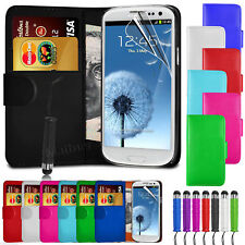 New Wallet Leather Case Cover - Samsung Galaxy S3 + Stylus + Screen Protector