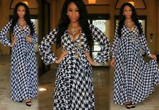 sexy black white houndstooth print maxi wrap dress long skirt evening party gown