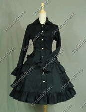 Victorian Gothic Lolita Black Dress Coat Theatre Clothing Steampunk Cosplay C019