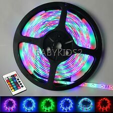 5M RGB SMD 3528 Flexible LED Strip Light 24Key Mini IR 12V 2A Adapter 300 Leds