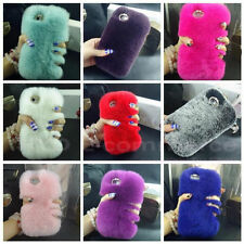 Hot Bling Soft Rabbit Fur Back Case Cover For Apple iPhone 4 4S 5 5S 6 Plus