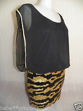 NWT bebe black gold sheer mini sequin skirt top party armor sexy dress XS S