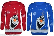 Womens Ladies Xmas 3D Nose Long Sleeve Frozen Olaf Knitted Sweater Jumper