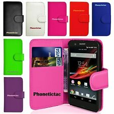 Flip Leather Wallet Case & Screen Protector For Sony Xperia M C1905