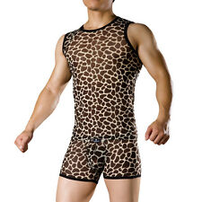 Dominik Sexy Man Leopard Print Sleeveless Tencel Sweater and Underwear 2229/4006