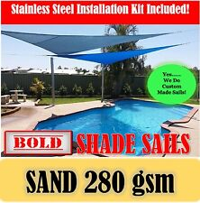 3x6 Metre Sand Rectangle 280 gsm Shade Sail with S/S GR316 Mounting Kit Awning