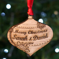 Personalised Wooden Merry Christmas Tree Decoration Large Bauble Gift