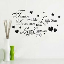 Wall Sticker Quote Removable Kids Bedroom Twinkle Twinkle Little Star Decal Hot